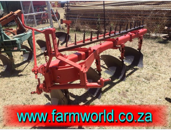 S408 Pre-Owned Massey Ferguson 4 Furrow Beam Plough With Rake / 4 Skaar Balk Ploeg Met Hark